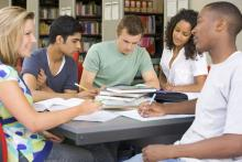 high school students in library