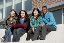 HS Students Sitting Outside