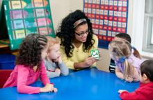 students with teacher